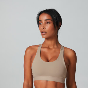 Power Cross Back Sports Bra - Sesame