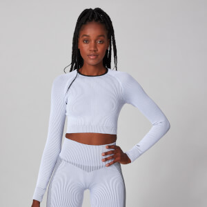 Contrast Seamless Crop Top - White
