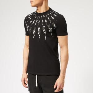 Neil Barrett Men's Fairisle Floral Lightning Bolt T-Shirt - Black
