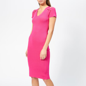 MICHAEL MICHAEL KORS Women's Cut Out Lace Up V Neck Dress - Electric Pink