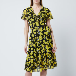 MICHAEL MICHAEL KORS Women's Glam Paint Flower Wrap Dress - Black/Golden Yellow