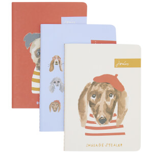 Joules Dog Print Set Of Three Notebooks