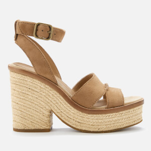 UGG Women's Carine Leather Platform Heeled Sandals - Chestnut