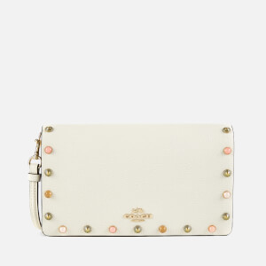 Coach Women's Cult Border Rivets Foldover Cross Body Clutch Bag - Chalk