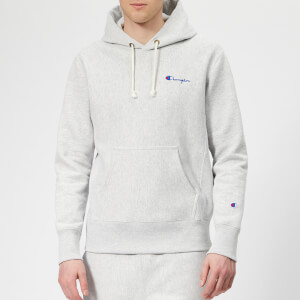 Champion Men's Small Logo Hooded Sweatshirt - Grey