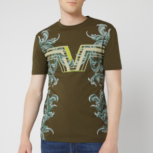 Versace Collection Men's V Floral Print T-Shirt - Moss
