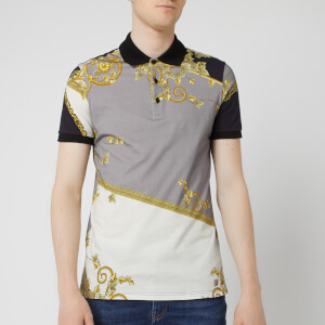 Versace Collection Men's All Over Print Polo Shirt - Grey