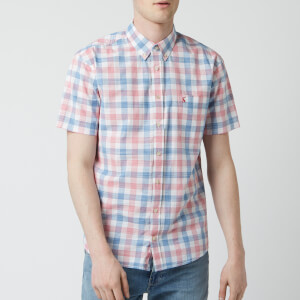 Joules Men's Wilson Short Sleeve Shirt - Pink Check