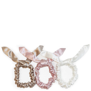 Slip Silk Bunny Scrunchies - Caramel/Pink/White (Pack of 3)