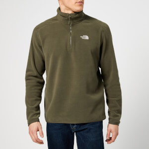 The North Face Men's 100 Glacier 1/4 Zip Fleece - New Taupe Green