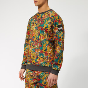 The North Face Men's Fine 2 Crew Neck Sweatshirt - Leopard Yellow Genesis Print