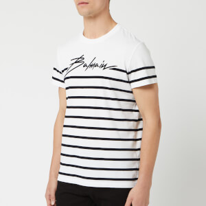 Balmain Men's Signature Striped T-Shirt - Blanc/Noir