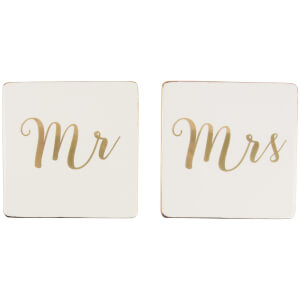 Sass & Belle Set of 2 Mr & Mrs Gold Coasters