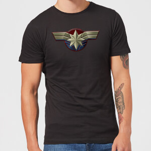 T-Shirt Captain Marvel Chest Emblem - Nero - Uomo