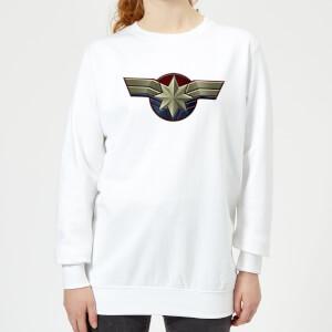Captain Marvel Chest Emblem Women's Sweatshirt - White
