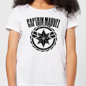 T-Shirt Captain Marvel Logo - Bianco - Donna