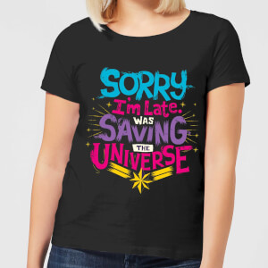 Captain Marvel Sorry I'm Late Women's T-Shirt - Black