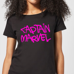 Captain Marvel Spray Text Women's T-Shirt - Black