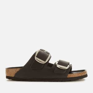 Birkenstock Women's Arizona Big Buckle Leather Slim Fit Double Strap Sandals - Black