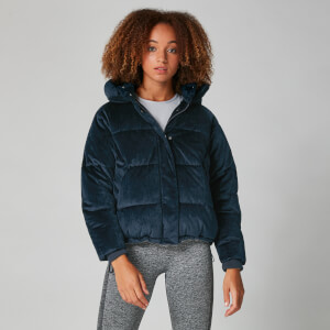 Cropped Velour Puffer - Marineblauw