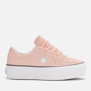 Converse Women's One Star Platform Ox Trainers - Bleached Coral/Black/White
