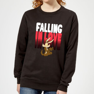 Looney Tunes Falling In Love Wile E. Coyote Women's Sweatshirt - Black