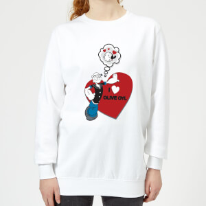 Popeye I Love Olive Oyl Women's Sweatshirt - White