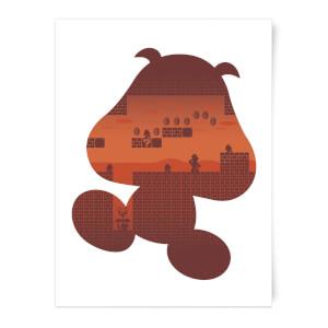 Nintendo Super Mario Goomba Silhouette Art Print