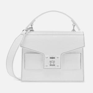 SALAR Women's Gigi Croco Cross Body Bag - White