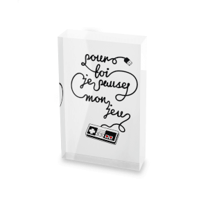 I'd Pause My Game For You - French Glass Block - 80mm x 60mm