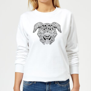 Mr Pickles Pattern Face Women's Sweatshirt - White