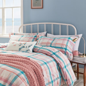Joules Cottage Check Duvet Cover - Pink