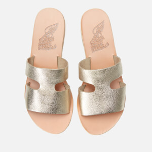 Ancient Greek Sandals Women's Apteros Metallic Leather Slip on Sandals - Platinum/Sand