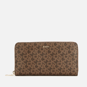 DKNY Women's Bryant Large Zip Around Purse - Mocha Logo