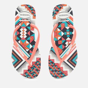 Havaianas Women's Slim Tribal Flip Flops - White/Coral New Fluro