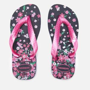 Havaianas Kid's Flores Flip Flops - Navy/Pink