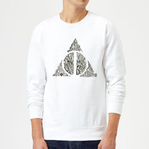 Harry Potter Deathly Hallows Text Sweatshirt - White