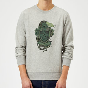 Harry Potter Slytherin Drawn Crest Sweatshirt - Grey