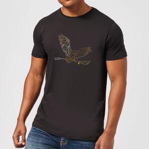 Harry Potter Hedwig Broom Gold Men's T-Shirt - Black