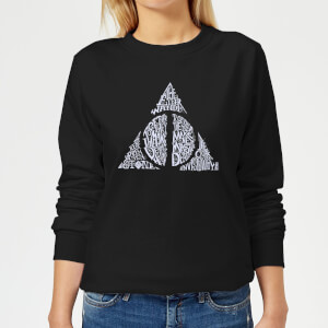 Harry Potter Deathly Hallows Text Women's Sweatshirt - Black