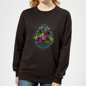 Harry Potter Hogwarts Neon Crest Women's Sweatshirt - Black