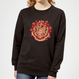 Harry Potter Hogwarts Christmas Crest Women's Sweatshirt - Black