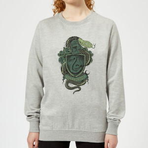 Harry Potter Slytherin Drawn Crest Women's Sweatshirt - Grey