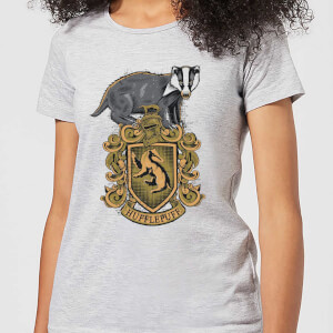 Harry Potter Hufflepuff Drawn Crest dames t-shirt - Grijs
