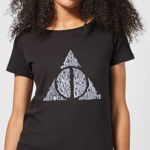 Harry Potter Deathly Hallows Text Women's T-Shirt - Black