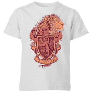 Harry Potter Gryffindor Drawn Crest Kids' T-Shirt - Grey