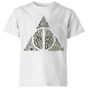 Harry Potter Deathly Hallows Text Kids' T-Shirt - White
