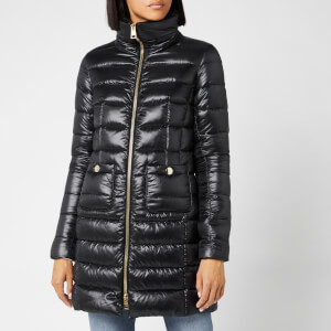 Herno Women's Maria Iconic Long Quilted Fitted Coat - Black
