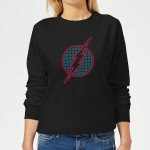 Justice League Flash Retro Grid Logo Women's Sweatshirt - Black