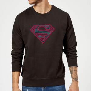 Justice League Superman Retro Grid Logo Sweatshirt - Black